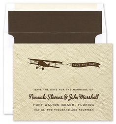 Noteworthy Collection Linen Airplane Invitation