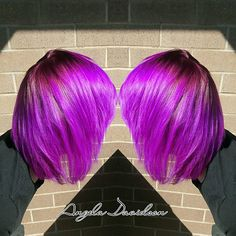 Vibrant violet with a plum shadow root! #Angeladoeshair #shampoodollssalon #pravanavivids #pravana #colorcorrection #malibu #malibuddl #olaplex #tigerreconstruct #pravanasmoothout #transformationtuesday #brightcolors #neonhair #cottagegrovestylist #eugenestylist #oregonstylist #pnw