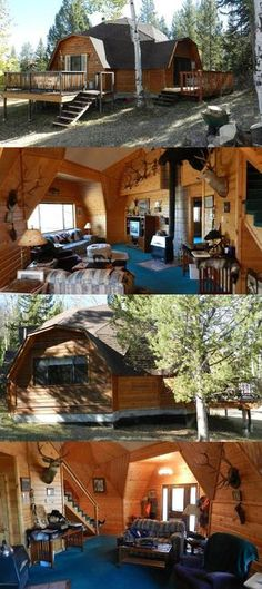A geodesic dome for sale in Wyoming has a wood paneled facade and interior, blue carpeting, a wrap around deck, delicate chimney, and hunting lodge style decor.