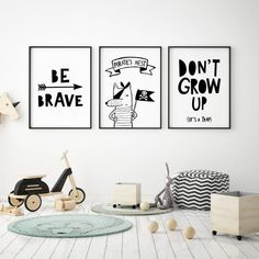 Set of 3 nursery posters children wall art kids poster monochrome nursery art kids room decor dont grow up be brave pirate print