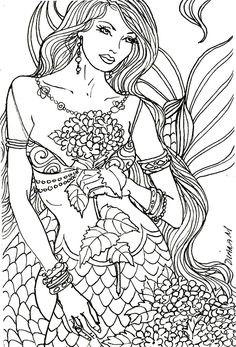23 Best Ideas Coloring Pages for Adults Mermaid . Coloring pages are no much longer just for kids. Coloring books are marketing well in the grown-up market. Coloring Pages To Print, Coloring Book Pages, Printable Coloring Pages, Coloring Pages For Kids, Coloring Sheets, Realistic Mermaid, Mermaid Coloring Book, Colorful Drawings, Digital Stamps