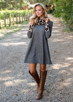 Charcoal Leopard Cowl Scarf and Cuff Dress, Modern Vintage Boutique, Gray Dress, Leopard Dress, ShopMVB, Women's Boutique, Online Shopping, Fasion, Style