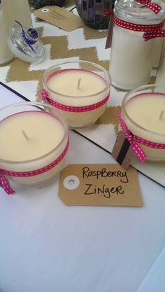 Raspberry Zinger in shortcake glass $3. www.facebook.com/sweetlightscandles or sweetlightscandles@gmail.com