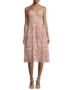 TBWVP Self Portrait Azaelea Guipure-Lace Illusion Dress, Pink
