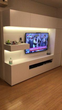 Living room TV/wall, unit With Mandir Living room TV/wall Tv Unit Decor, Tv Wall Decor, Tv Cabinet Design, Tv Wall Design, Small Living Rooms, Living Room Decor, Tv Room Small, Tv Wanddekor, Tv Wall Cabinets