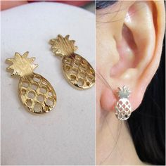 Articoli simili a Striped Texture Pineapple Stud Clip on Earring, Non pierced earrings Gold Invisible clip on Stud Magnetic earring alternative su Etsy Clip On Earrings, Gold Earrings, Pierced Earrings, Magnetic Earrings, Earring Backs, Stud Earring, Heavy Metal, Dangles