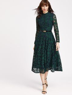 Floral Lace Overlay Dress With Belt -SheIn(Sheinside)