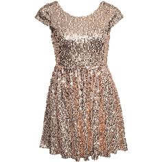 Nly One Sequin Skater Dress ($47) ❤ liked on Polyvore featuring dresses, vestido, champagne, party dresses, womens-fashion, off white dress, champagne dress, vintage white dress, flared skirt and sequin skater skirt