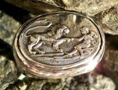 Child and lion mens ring statement vintage by CosmolithosCreations