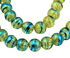 20 Crackle Green Glass Beads with Blue Accents by BohemianFindings, $1.95