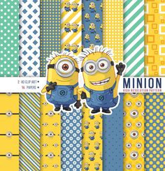 Minion Hand Drawing Clipart, Minion Digital Paper, Happy birthday Minion, Scrapbook, Background, Texture, Printable party - Instant Download by PhorestDesign on Etsy
