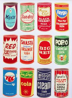 Pop Art, vintage style Art prints inspired by retro brands. All of these prints are available for purchase at AntiGraphic.
