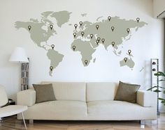LARGE World Map Wall Decal Sticker x Vinyl Wall Stickers Decals With Pins - Most creative decoration list World Map Wall Decal, Wall Maps, World Map Art, World Map Travel, Wall Clocks, Vinyl Wall Stickers, Wall Decal Sticker, Wall Vinyl, Large Wall Decals