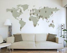 carte du monde, autocollant mural, impact, accent