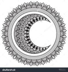 Moon And Sun With Mandala Ornament Hand Drawn Ethnic Oriental Pattern