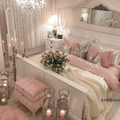 Bedroom Ideas - A dreamy yet chic bedroom styling strategies. For further piece of cake information , why not press the link to study the post idea 7465630252 this instant. Glam Bedroom, Room Ideas Bedroom, Home Decor Bedroom, Bed Rooms, Bedroom Modern, Girl Bedroom Designs, Bed Designs, Dream Rooms, Luxurious Bedrooms
