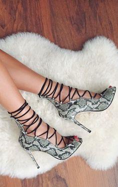 Lace up python heels