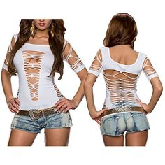 Women's Sexy Slashed Ripped Cut Out Stretch Party Blouse Top White Wotefusi http://www.amazon.com/dp/B00PBXP9EI/ref=cm_sw_r_pi_dp_eyMmvb17SX5R1