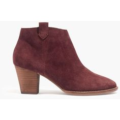 MADEWELL The Billie Boot in Suede ($160) ❤ liked on Polyvore featuring shoes, boots, mid-calf boots, plum wine, faux boots, faux-suede boots, plum boots, mid calf heel boots and suede slip on shoes