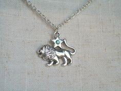 Leo Lion Necklace Silver Lion Zodiac Jewelry by JypsyJewels