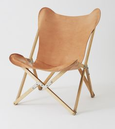 Natural leather sling seat on Plywood folding frame. Also available in chocolate leather seat and/or black stained frame. Small and flexible these chairs can be easily stored. Handmade in the Northern Beaches of Sydney.