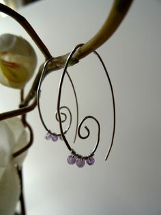 Long spiral amethyst earrings, hand forged silver plated, wire wrapped lavender amethysts, lilac boho bridal earrings, elvish earrings, UK - pinned by pin4etsy.com