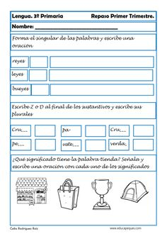 lengua, ejercicios de lengua, lengua primaria, tercero primaria Grade 1, Third Grade, Spanish Class, Ideas Para, Classroom, Education, Google, Worksheets, Chloe