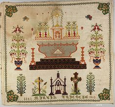 Sampler                                                                                 Date:                                      1863                                                       Culture:                                      French                                                       Medium:                                      Silk and wool on linen canvas