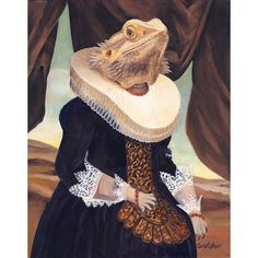 Sir Spike was a lonely Bearded Dragon. But one day, this prince charming found his one true love. After a short courtship, he asked her hand in marriage and she accepted. A more beautiful Bearded Dragon wife there never was. Mrs. Spike is as smitten as he is. The happy couple are available for visits in my Etsy Shop. https://www.etsy.com/shop/OldWorldPetPortraits?ref=hdr_shop_menu&search_query=bearded+dragon