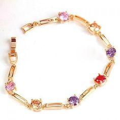 Fresh Style Colored Rhinestone Embellished Bracelet For Women