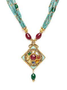 Turquoise, Emerald, & Ruby Kite Shaped Pendant Necklace by Amrapali at Gilt