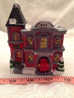 "Christmas Village Fire Station 4"" Wide By 4 1/2"" Tall Ceramic"