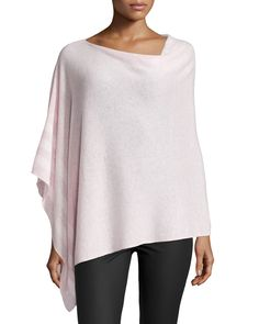 in CASHMERE Striped Cashmere Poncho, Pastel Pink/White, Women's, Pastel Pin