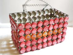 recycling crafts. A basket made from the lids of the beverage bottles.
