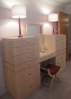Bespoke Maple Dressing Table, with specialist painted stool in faux bois.
