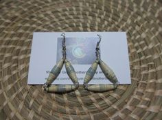 Cream and light blue Upcycled Magazine Paper Bead Dangle Earrings- The Nyaka AIDS Orphans Project, Africa, Uganda $10.00