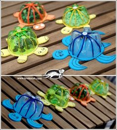* turtles for bath - really cute - made from the bottom of a pop or water bottle and a piece of waterproof foam [looks like it needs to be at least twice as thick as fun foam - wonder where to get it?]