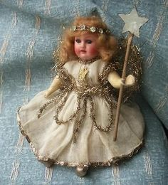 Old Vintage Antique German Bisque Head Christmas Fairy Doll Armand Marseille 20s