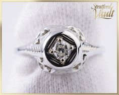 Art Deco ~ Diamond Engagement Ring ~ White Gold Bead Setting ~ Brilliant Cut Solitaire Diamond ~ STR 15048 by StratfordVault on Etsy Solitaire Diamond, Art Deco Diamond, Gold Beads, Diamonds, White Gold, Jewels, Engagement Rings, Antiques, Unique Jewelry
