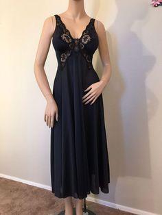 be747908ea VTG Black Olga Bodysilk Nylon Spandex Lace Nightgown PLEASE READ DESCRIPTION