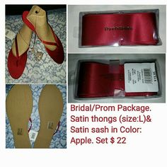 Bridal or prom package in apple Color Satin thongs in apple Color, size: L and satin sash also. both in Apple From David's Bridal Shop . NWT David's Bridal Shoes Sandals