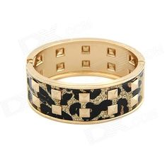 Color: Black + Gold; Quantity: 1 Piece; Material: Zinc Alloy; Gender: Women; Suitable for: Adults; Bracelet Length: 6.6 cm; Bracelet Width: 5.8 cm; Packing List: 1 x Bracelet; http://j.mp/1uOdIHe