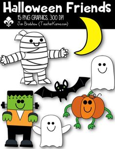 Halloween Friends ~ Trick or Treat clip art.  These ** 15 **  graphics are just perfect for adding to your classroom materials and educational products that you sell on Teachers Pay Teachers or other sell sites. Commercial and personal use is ok.