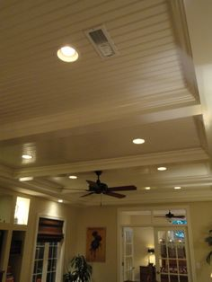 Beadboard ceiling for basement