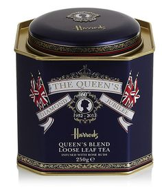 Harrod's strikingly elegant Diamond Jubilee tea tin. #tea #tin #Queen #UK #Britain #England #Diamond #Jubilee