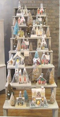 Display idea for putz houses. Thanks to Kit Reuther.