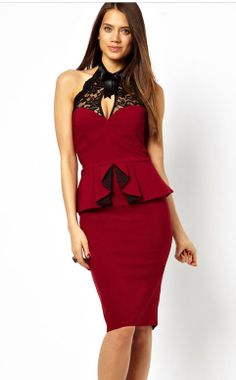 Red Sleeveless Lace Backless Peplum Bodycon Dress US$39.90