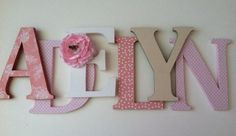 Wooden letters for nursery in soft coral pink and tan by SummerOlivias