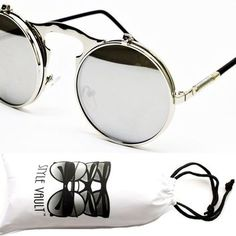 "V137-vp Flip up Out 2"" Lens Round Metal Django Sunglasses"