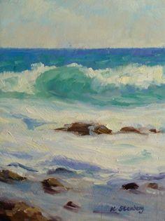 Kauai Waves Original Oil Painting Ocean Blue Hawaii Tropical Seascape Vacation Seafoam Sky. $100.00, via Etsy.